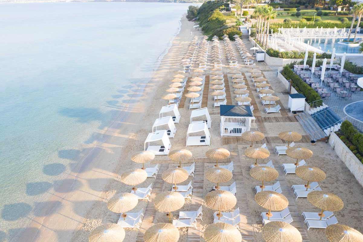 Potidea Palace umbrellas & sunbeds