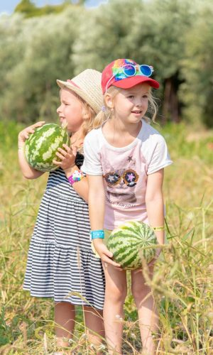 Kids with watermelons